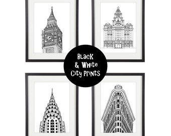 Black & White Print | City Prints | London Print | New York Print | Italy Print | City Illustration | Architectural Print | Line Drawing