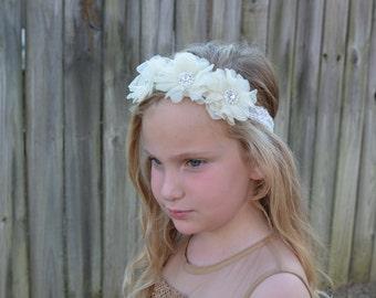 Flower girl Headband, Bridesmaid Headband, Flower with Rhinestone Center Headband , Boutique Stretch Lace Headband, Sparkle Headband