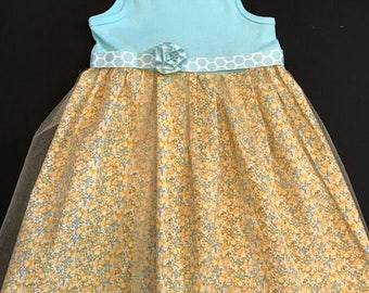 3T-4T Flower girl dress; Knit top with Tulle/Cotton Skirt