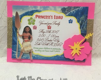 Moana Birthday Invitation- Moana Birthday Party Invitation- Moana Invitation- Moana Birthday Theme Invitation