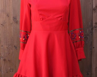 Long Sleeved Red Dress with Embroidery