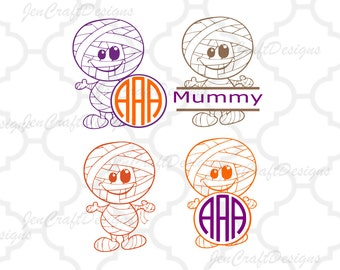 Mummy Monogram Frame svg eps dxf eps, Halloween Monogram Frame, Halloween Designs, SVG Files,Vector Art, Cricut, Silhouette,Cut File