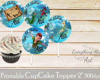 Peter Pan Cupcake toppers printable, Neverland birthday supplies, Tinkerbell cupcake toppers, Peter Pan and friends, Cupcake toppers