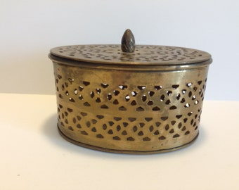 Trinket Box Brass Box with Hole Puches Solid Brass Jewelry Box Stash Box Vintage Brass