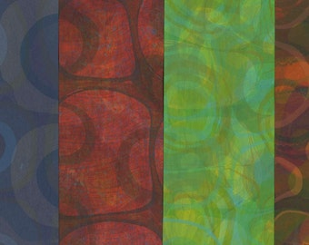 Hand Marbled Paper Set: 4 Sheets 8x11 (Overmarbled Circles)