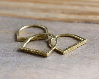 Hammered Bar Ring // Boho Stacking Ring // Gold Brass Hammered Ring