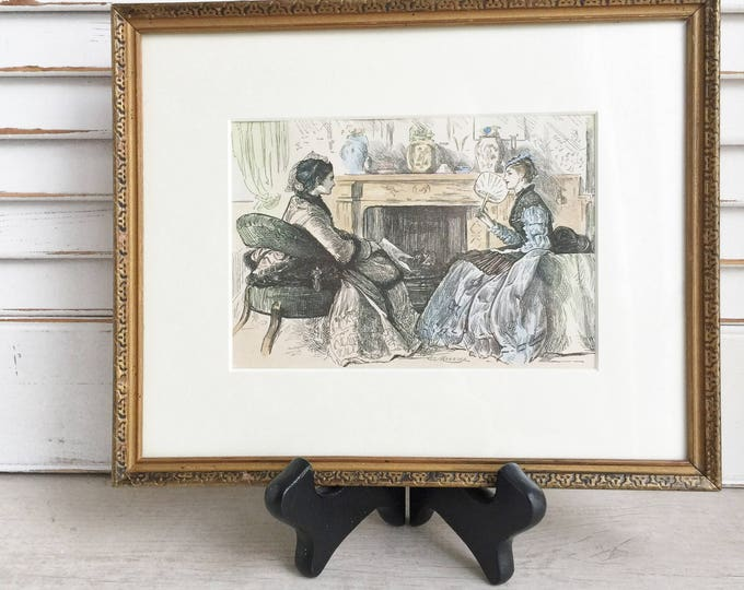Antique Print George Du Maurier Framed and Matted Edwardian Women in Front of the Fireplace