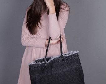 Canvas Bag, Women Handbag,  Black Bag, with Leather Straps, Canvas Tote Bag, Oversized Tote, Teacher Bag, Craft Tote