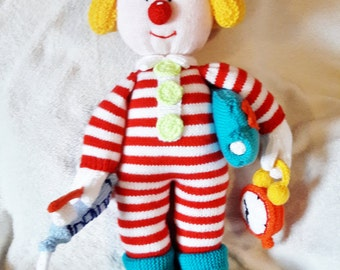 Clown knitted toy, children, kids, bedtime, playroom, soft toy, stuffed toy, gift, birthday
