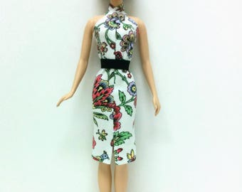 White Floral Print Dress with Black Belt (for Silkstone Barbie)