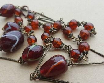 Vintage Art Deco 1920s Flapper Murano Glass Venetian Maroon Dark Red Burgundy Bead Necklace