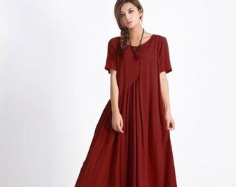 Women's linen maxi dress asymmetry cotton linen kaftan oversize bridesmaid dress large size dress plus size clothing Custom made Dress A26