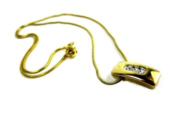 Gold Tone Chain Pendant Necklace With Rhinestones