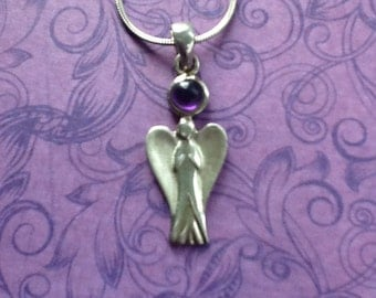 Guardian ANGEL with Amethyst Stone Necklace~Sterling Silver~18 Inch Italian Snake Chain~Vintage Necklace~925 Silver~Vintage Jewelry~Angels~