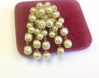 Vintage, glass pearl dangle brooch, mid century.