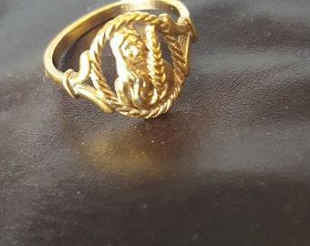 Vintage Avon Zodiac Ring, Virgo Ring, Gold Virgo Ring, Avon