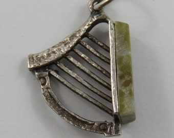 Harp With Green Stone Slab Sterling Silver Vintage Charm For Bracelet