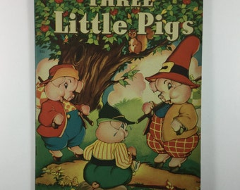 Three Little Pigs Vintage 1941 Children's Large Format Book