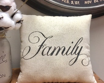 Pillow - Handmade Decorative Stenciled Accent Pillow - FAMILY Pillow