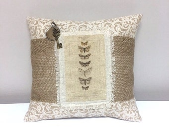 Pillow - Handmade Decorative Burlap Stenciled Pillow - Butterfly Pillow