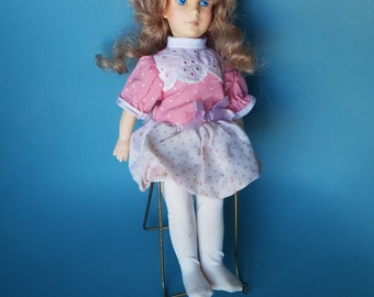 Vintage Growing Hair Doll / 1980s Doll / Red Hair / Blue Eyes / Pink Doll Dress / Eugene Doll / Braided Hair / Antique Doll / Curly Hair