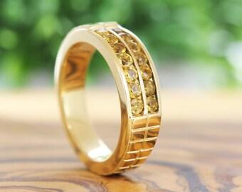 Men Citrine Ring, Men Wedding Ring, Yellow Citrin Men Ring, Yellow Citrine Ring, Men's Wedding Band, Yellow, Rose, Channel Set Ring