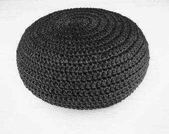 Rectangle puf crochet negro coj n de suelo por geometrikdesign - Cojin cuadrado suelo ...