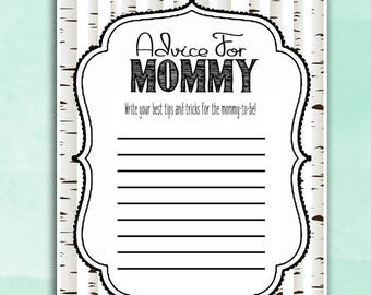 Woodland Baby Shower Game - Advice for Mommy - Whitewash Trees - Wishes DIY Instant Printable Digital Download Baby Shower activities girl