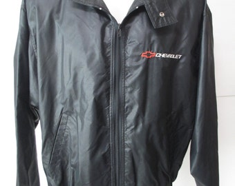 Vintage Mens Chevy Heartbeat of America Full Zip Jacket Large L Black ~Old School~ ~Nylon~