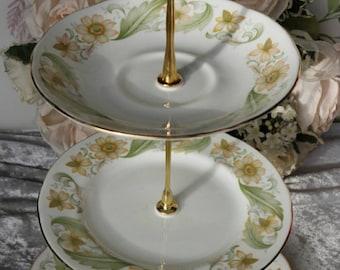 Vintage Crockery Three Teir Cake Stand - Afternoon Tea -