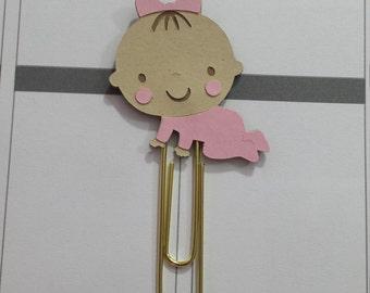 Caucasian Baby Girl Planner Clip Baby girl Paperclip Baby Girl Bookmark