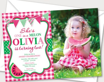 Watermelon Invitation - Watermelon Invite - Watermelon Birthday - Watermelon Birthday Party - Summer  - Style MSP113
