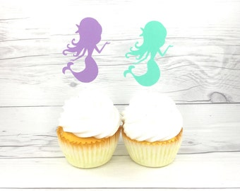 Mermaid Cup Cake Topper, Mermaid Party, Mermaid Cake Topper, Custom Cup Cake Topper, Purple And Aqua