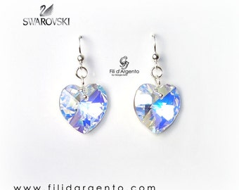 Earrings Swarovski Hearts and Silver 925 ‰ - Craft