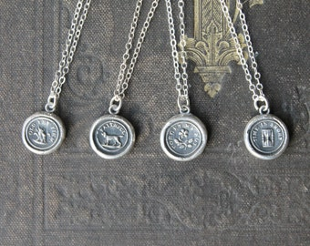 Wax seal fine silver charm