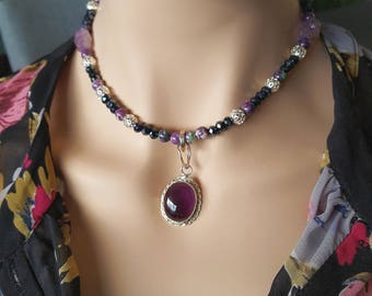 Wife Amethyst Gift Amethyst Necklace Amethyst Pendant Beaded Necklace Vintage Necklace Statement Necklace Purple Necklace