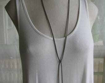 Wrap Choker Vegan Suede Leather Lariat Bohemian Necklace with Slide Antique Silver Curved Bar, Assorted Colors Available