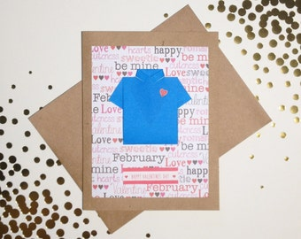 Valentine's Day Card for Husband: Origami Shirt Card - Valentine's Card for Boyfriend - for him - Happy Valentine's Day - Heart - Blue Shirt