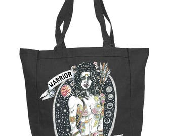 WARRIOR Not WORRIER Canvas Tote, Huntress Warrior grocery canvas bag / boho goddess Shopping Grocery Tote / boho Canvas Tote