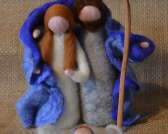 Needle felted Christmas Nativity Waldorf inspired- Blue