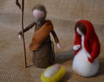 Needle felted Christmas Nativity Waldorf inspired-