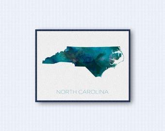 North Carolina Map Watercolor Poster, United States Map Print, Blue Version