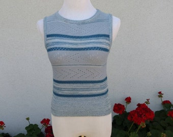 Vintage 60's 70's Knit Tank Top Shirt Sheer Blue Space Dye Striped Small