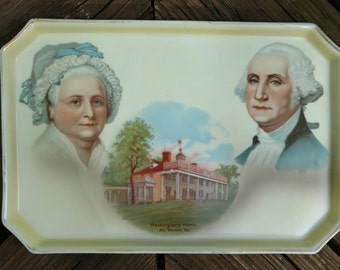 1930's George and Martha Washington Commemorative Tray/Made in Germany  Hand painted for A.C. Bosselman & Co. New-York