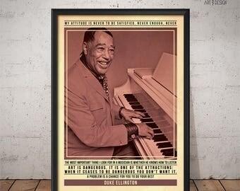 Duke Ellington Poster - Quote Retro Music Poster - Music Print, Wall Art