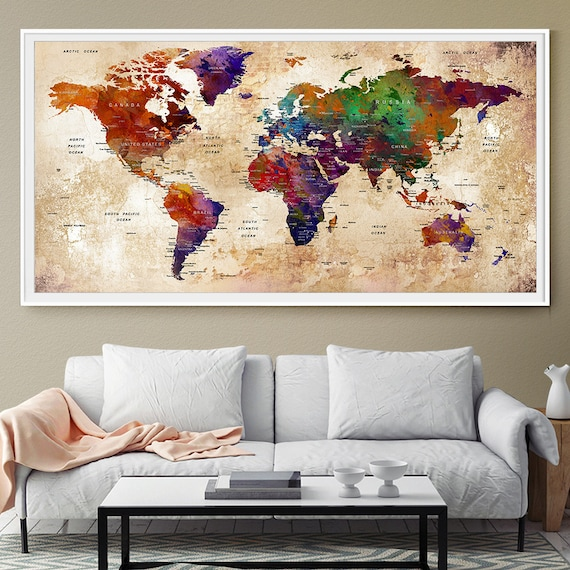 Decor World: Personalized Travel Map Home Decor World Map Push Pin Wall