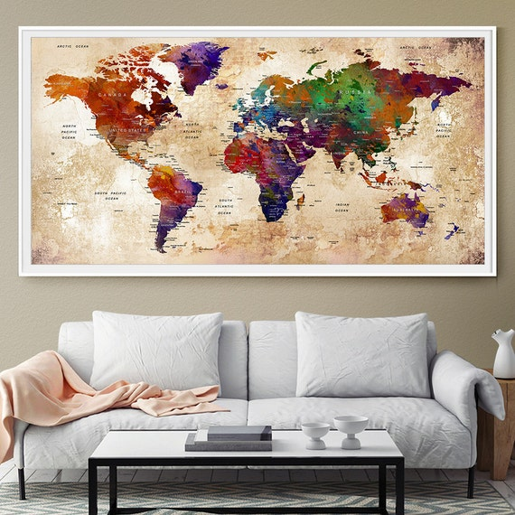 Personalized travel map home decor world map push pin wall for Initial decorations for home