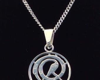Irish decimal halfpenny pendant and sterling silver chain.