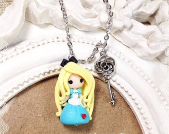 Chibi Cute Kawaii necklace Polymer Clay Fimo tiny Princess Alice Disney Princess Wonderland fairy tale Handmade gift Key Charms