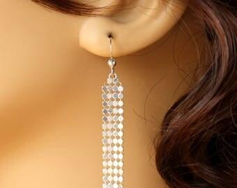 Sterling Silver Mesh Earrings, Sterling Silver Earrings, Long Silver Earrings, Silver Wire Earrings, Silver Dangle Earrings, Mesh Earrings,